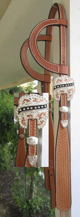 Dale Chavez Black Buckaroo Style Headstall -Black & Copper accented buckles