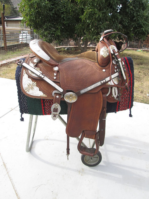 """17"""" Custom Sterling Overlay Show Saddle Set, Buttery Leather"""