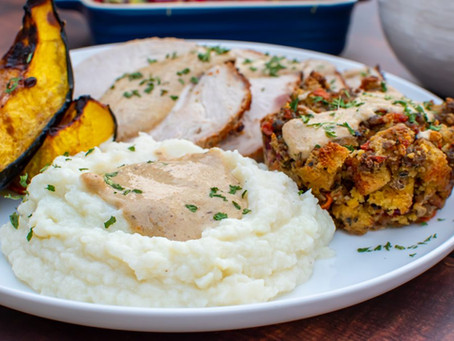 The Perfect Keto Mock Mashed Potatoes with Cremini Mushroom Gravy