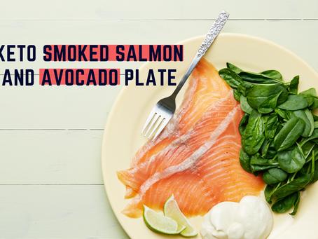 Keto smoked salmon and avocado plate