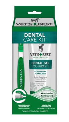 ערכת דנטל גל  Vet's Best Complete Enzymatic Dental Care Gel & Toothbrush Kit