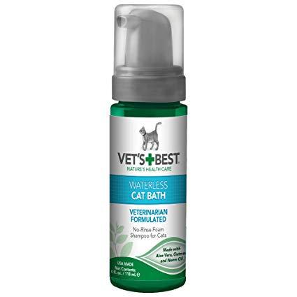 """שמפו יבש קצף לחתולים 150 מ""""ל Vet's Best Natural Waterless Cat Bath No Rinse"""