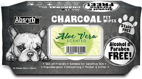 Pet Wipes 80 Sheets,  מטליות אנטי-בקטריאלי עם פחם בניחוח אלוורה פעיל  80 יחידות