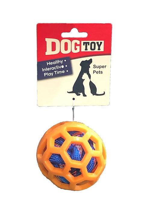 """צעצוע לכלב כדור סיליקון עם מילוי חבל קוטר 10 ס""""מ Dog Chew Toy Filled With Rope"""