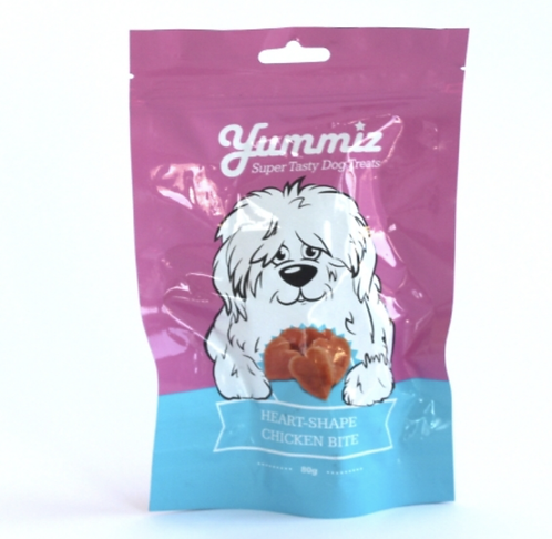 חטיף יאמיז לכלב נגיסי עוף בצורת לבבות 80 גרם