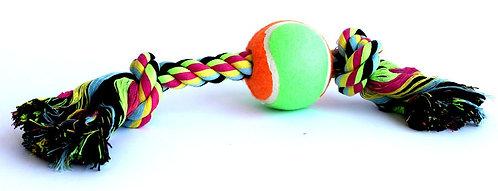 """צעצוע לכלב חבל דנטלי 45 ס""""מ עם כדור Dog toy rope with a ball 45 cm"""