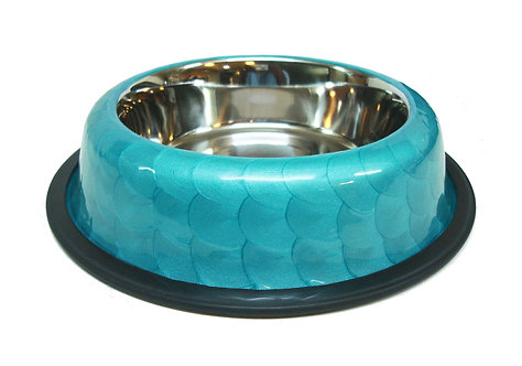 קערת נירוסטה עם גומי בהברשה כחולה
