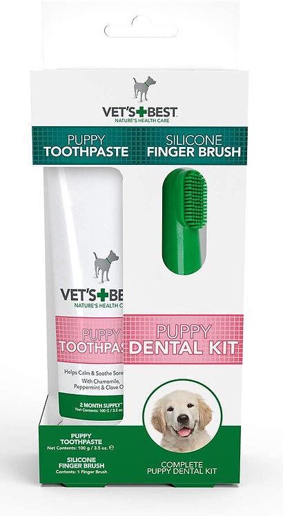 Vet's Best Puppy Toothpaste ערכת דנטל ג'ל משולבת עם אצבעון סילקון מיוחד לגורים