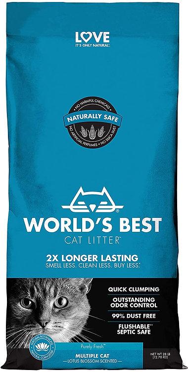 WORLD'S BEST Multiple Cat Lotus Blossom Scented מצע חול תירס מתגבש בניחוח לוטוס