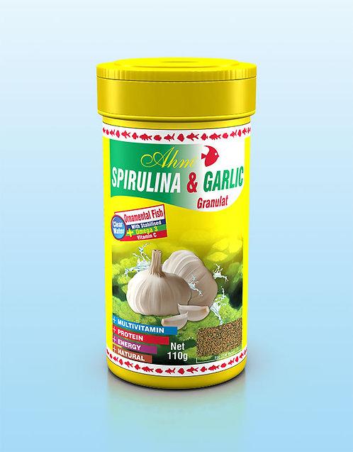 SPIRULINA & GARLIC GRANULAT מזון לדגי אקווריום ספירולינה+שום