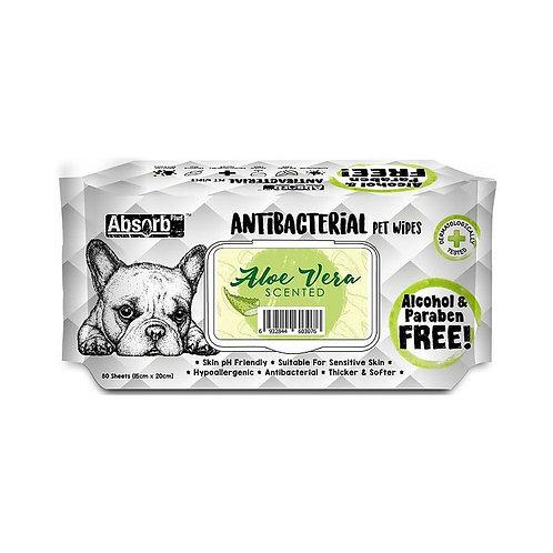 Pet Wipes 80 Sheets, Baby Powder מטליות אנטי-בקטריאלי בניחוח אלוורה 80 יחידות