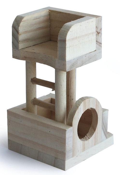 בית 2 קומות מעץ למשחק לאוגרים מידות 8*8*13.5