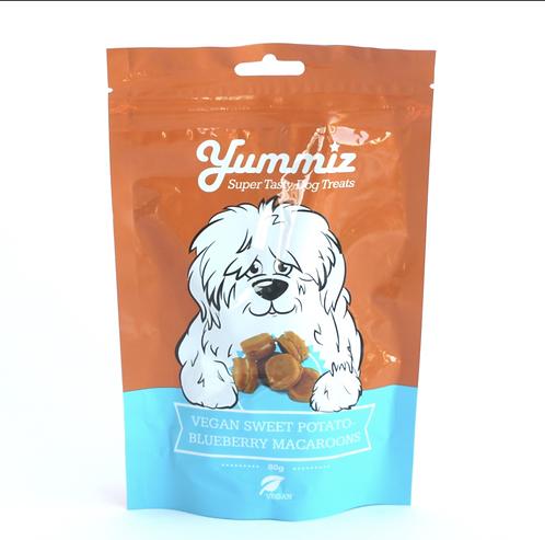 יאמיז לכלב מקרון אוכמניות ובטטה טבעוני   yummiz vegan sweet potato blueberr