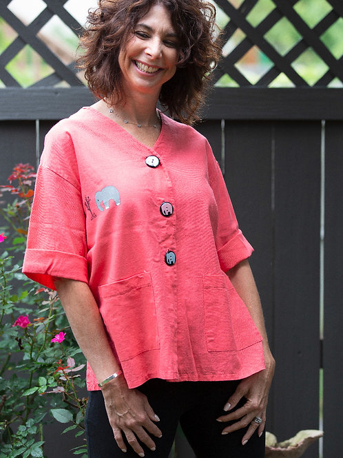 Linen and Rayon Jacket ~ Coral