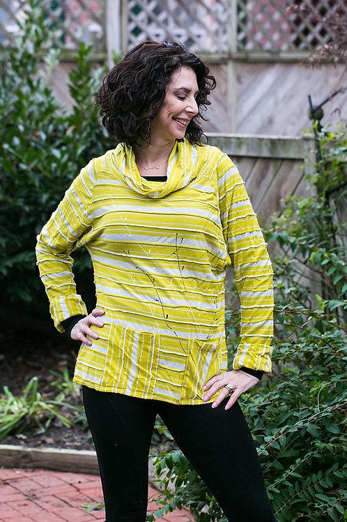 Soft Cotton Knit Cowel-Neck Shirt
