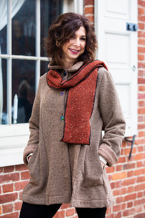 Finger-Tip Length Taupe Jacket (scarf sold separately)