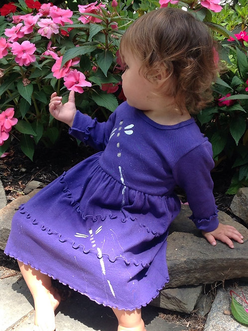 Ruffle Dress ~ Purple with Dragonflies