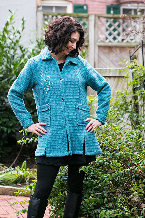 Turquoise Basket-Weave Italian Wool Jacket with Dragonfly Buttons