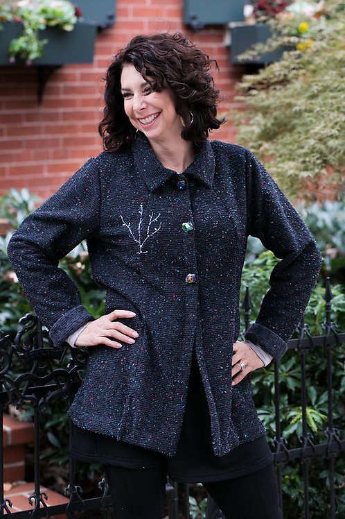 Finger-Tip Length Charcoal Jacket with multi-colored slubs