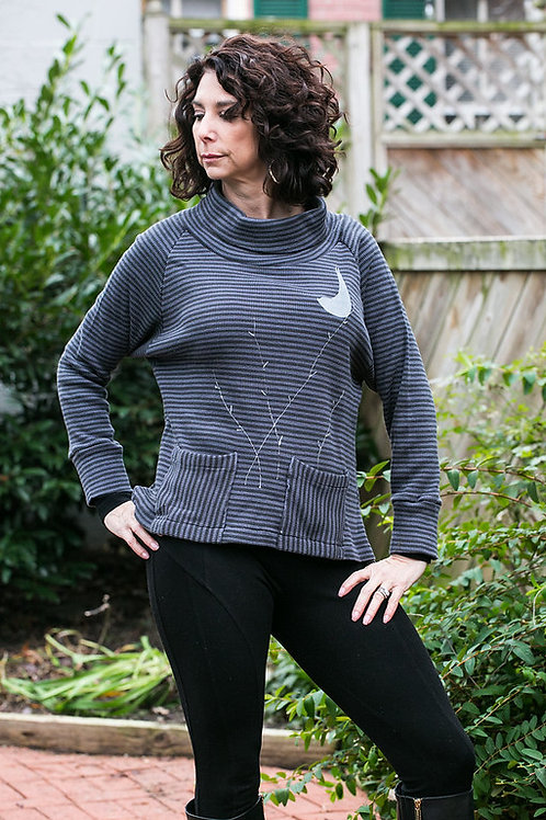 Striped Thermal CottonTee with Front Pockets