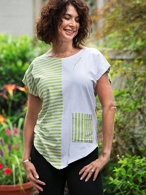 Cotton-Lycra V-FrontTop - Lime Stripes