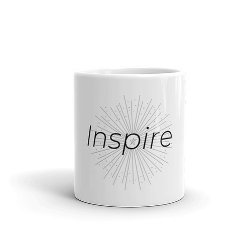 INSPIRE White glossy mug Black Logo