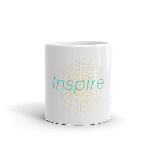 INSPIRE White glossy mug Green/Yellow Logo