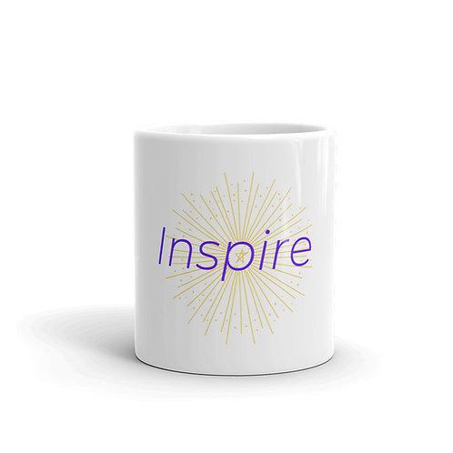 INSPIRE White glossy mug Purple/Yellow Logo