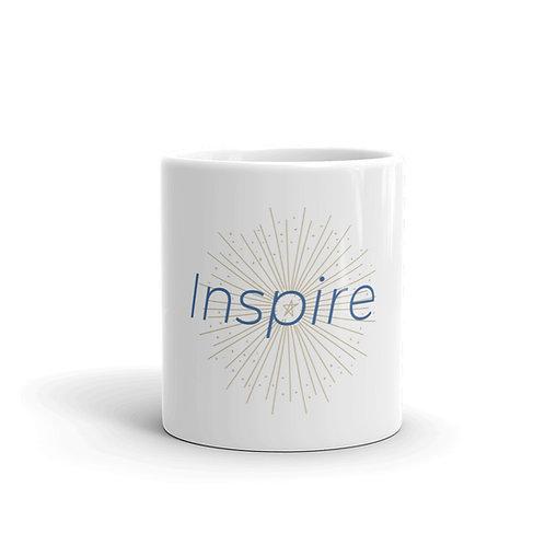 INSPIRE White glossy mug Blue/Beige Logo