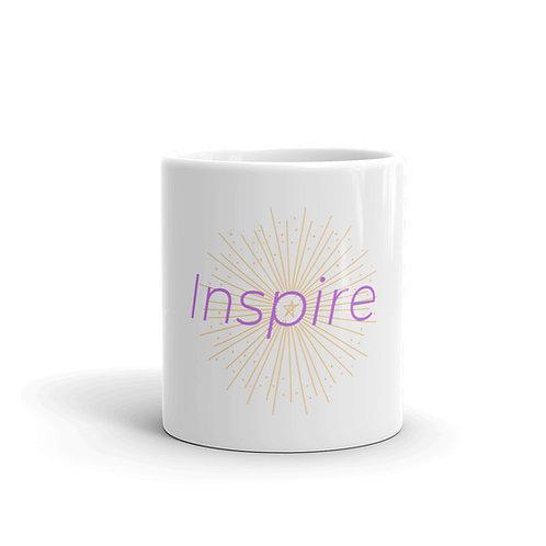 INSPIRE White glossy mug Pink/Yellow Logo