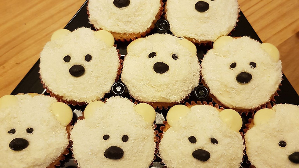Festive Baking - Polar Bear Cupcakes