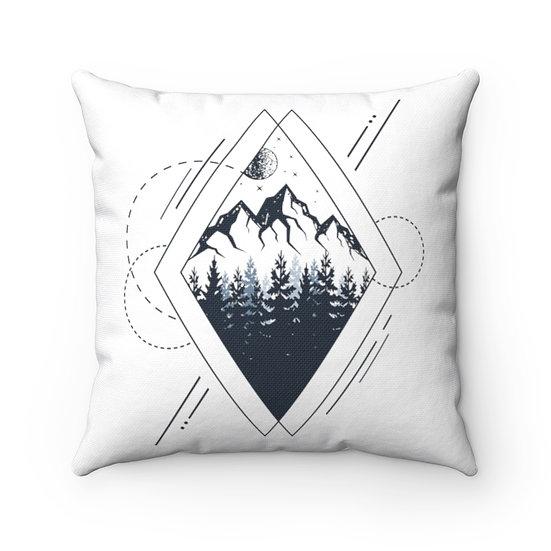 Geometrical Mountains In A Rhombus Spun Polyester Square Pillow
