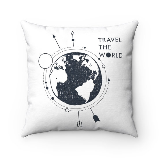 Travel The World Spun Polyester Square Pillow
