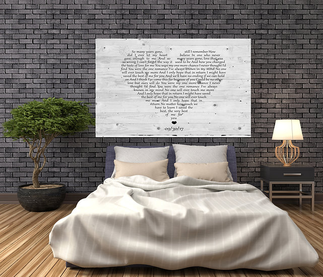 5th Anniversary Gift For Husband, Song Lyric Wall Art Canvas