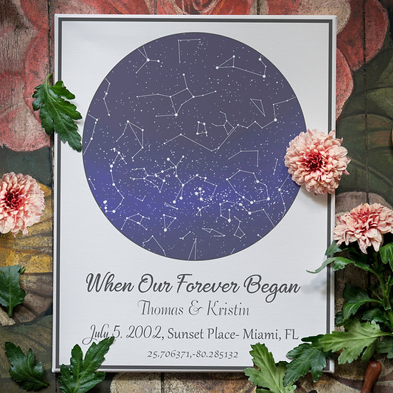When Our Forever Began Night Sky Star Map Gift For Couples