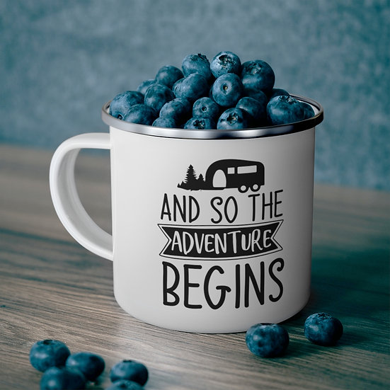 And So The Adventure Begins Enamel Camping Mug