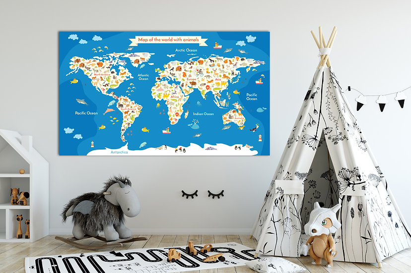 Kids World Map Canvas with Animals, Kids Educational Animal World Map Home Decor