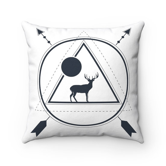 Geometrical Antler Deer And Moon Spun Polyester Square Pillow