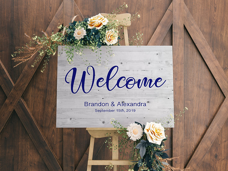 Welcome Wedding Sign Wood Effect Canvas, Gift For Bride And Groom