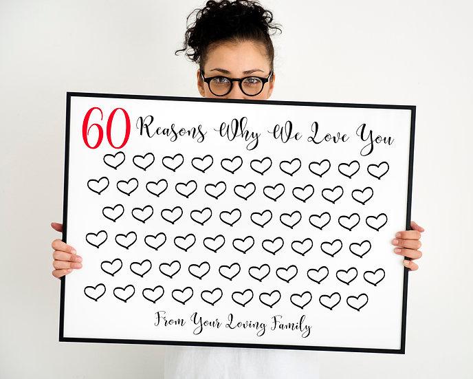 60 Reasons Why We Love You Digital File 8x10. 11x14. 16x20