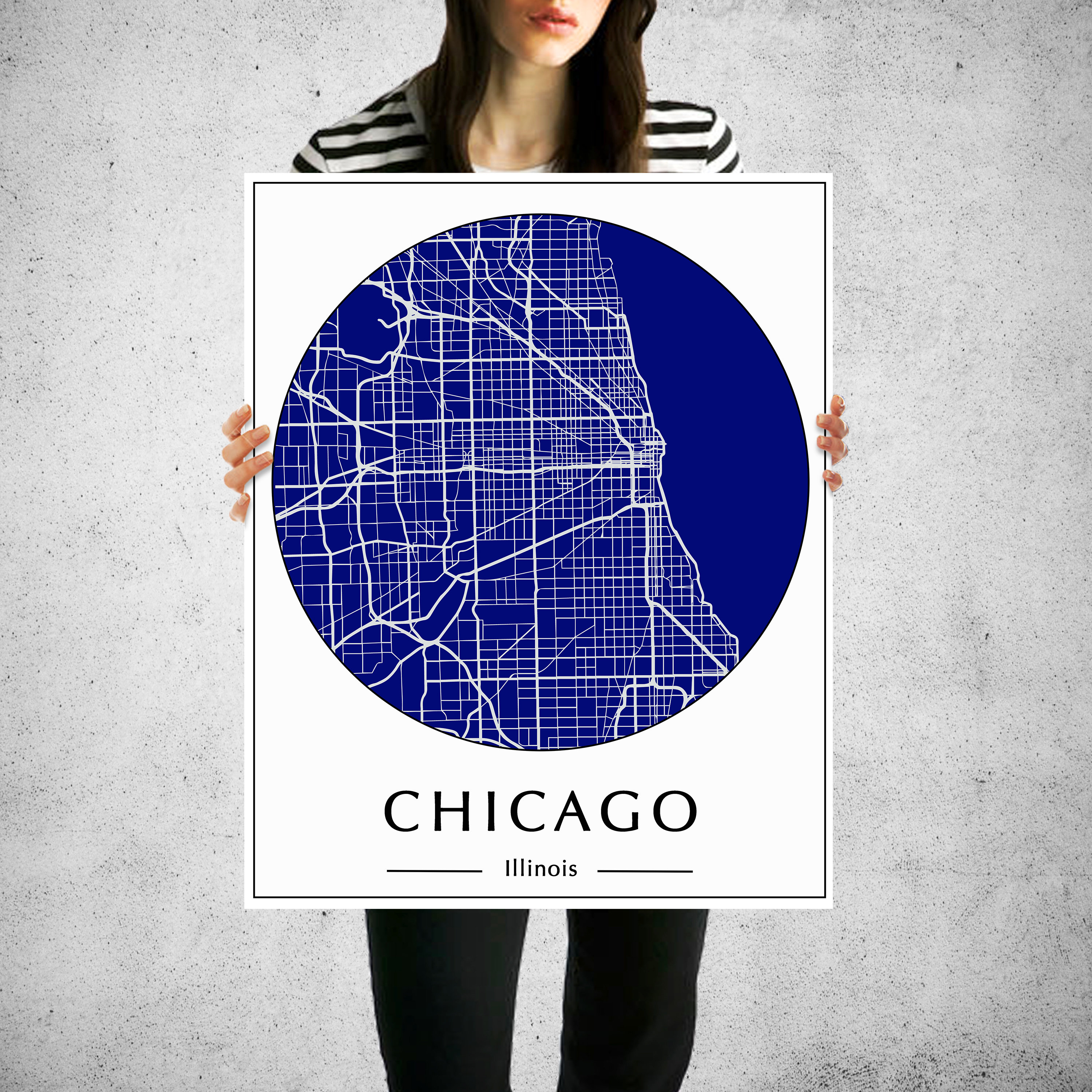 Chicago City Map Art, Maps Of Cities, Chicago City Posters
