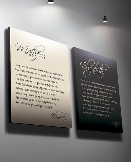 Wedding Vow Calligraphy On Canvas, Custom Sizes And Colors