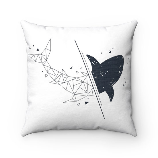 Geometric Shark Spun Polyester Square Pillow
