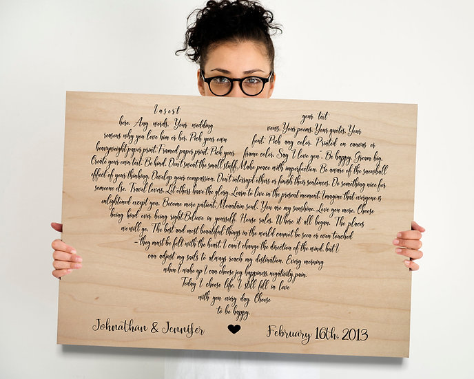 Wood Anniversary Gift For Him, Custom First Dance Lyrics