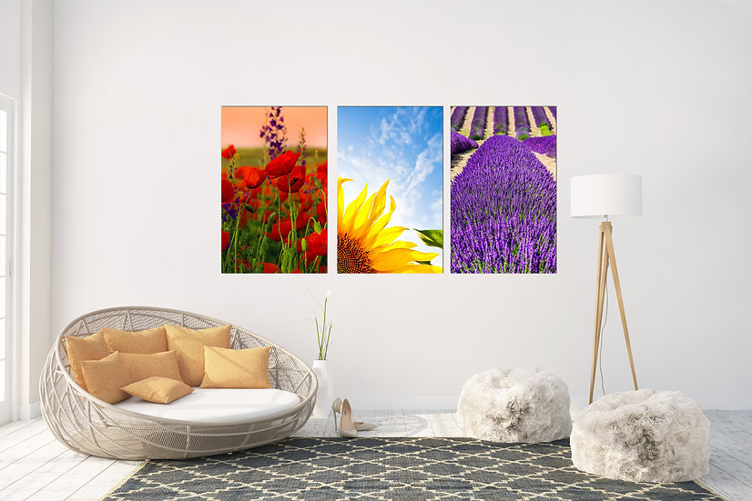 Large wall art canvas decor poppy, sunflower and lavender, large canvas printing
