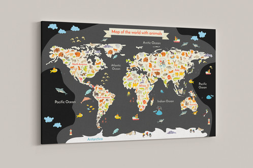 Childrens map of the world canvas prints, Animal map of the world