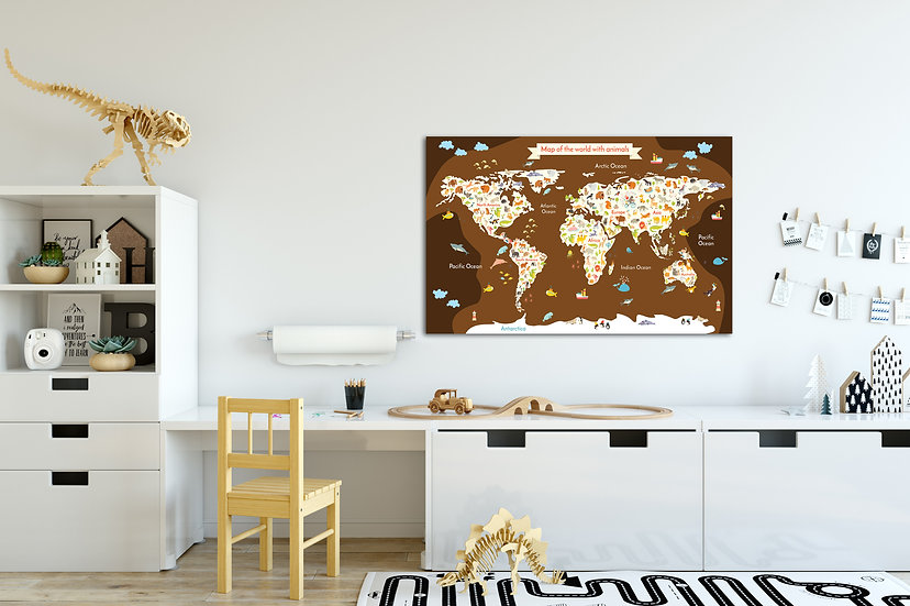 Childrens maps of the world, World map with animals stretched canvas print