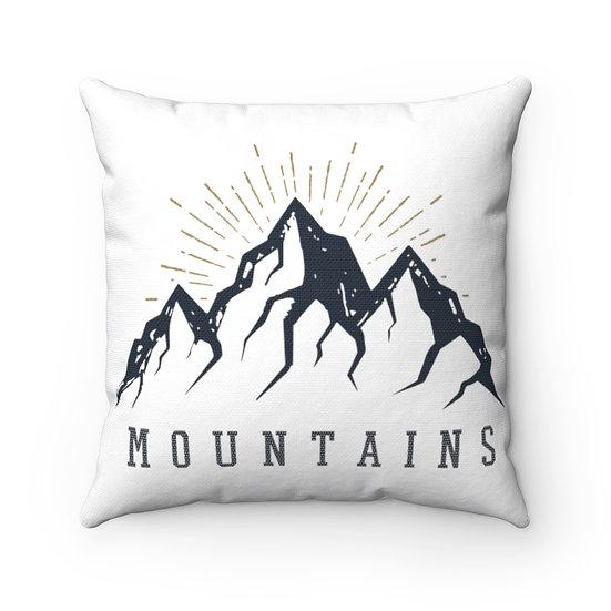 Sunrise Behind Mountains Spun Polyester Square Pillow