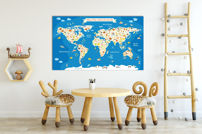 Animal World Map for Children and Kids Room Decoration, World map for Nursery