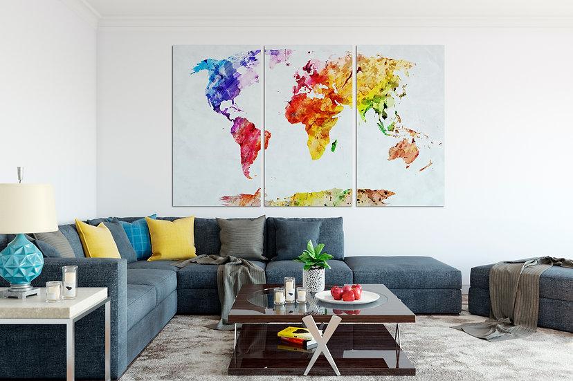 Watercolor Canvas World Map, Home Decor Wall Art, Office Decor